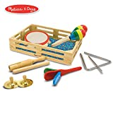 "Melissa & Doug Band-in-a-Box Clap! Clang! Tap! Musical Instruments (Various Instruments, Wooden Storage Crate, 10-Piece Set, 3"" H x 11.3"" W x 14.9"" L)"