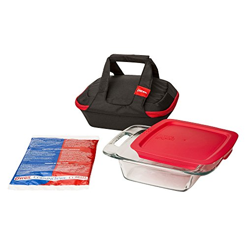 Pyrex Portables 8-Inch Square Glass Bakeware Food Storage Set and Hot/Cold Pack and Black Carrier