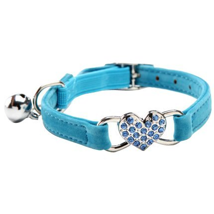 Chukchi Pink Soft Velvet Safe Cat Adjustable Collar with Crystal Heart Charm and Bells 8-11 Inches (Blue)
