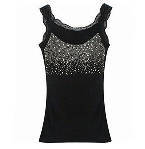 Edtoy Women's Rhinestone Sequin Lace Tanks Tops Basic Camis Sling Camisole Cami Sleeveless Shirt (Black)