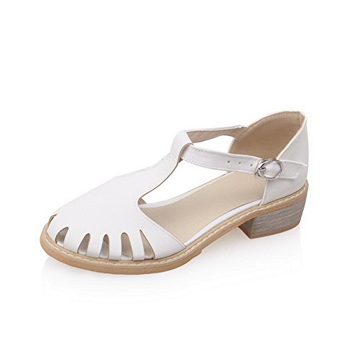 AmoonyFashion Womens Open Toe Low Heels Blend Materials Solid Buckle Sandals White ellFY