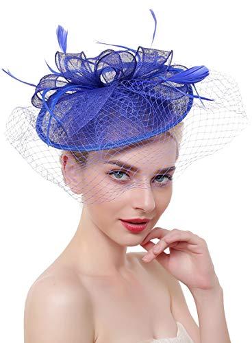 - Z&X Large Sinamay Fascinators for Women Kentucky Derby Headband Clip Net Veil Wedding Hats Royal Blue