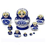 Chick Wood - Set 10pcs Doll Wooden Painted Nesting Babushka Gift - Dame Dolly Skirt Woody Wench