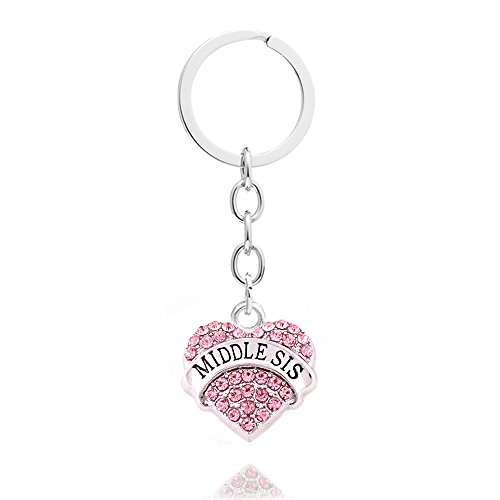 4pcs Women Girl Gift Big Middle Little Baby Sister Love Heart Pendant Key Chain Ring Set Family Jewelry (4pcs Pink B/M/L/B Sister Key Chains) Photo #5
