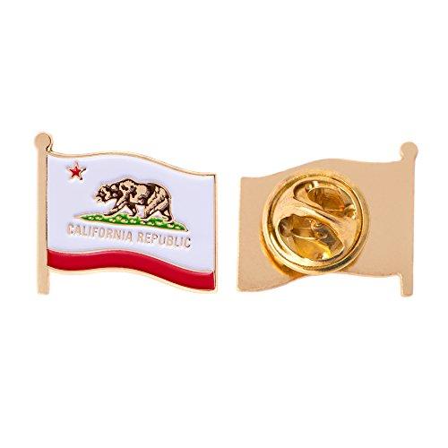 (California CA State Flag Lapel Pin Enamel Made of Metal Souvenir Hat Men Women Patriotic Californian (Waving Flag Lapel Pin))