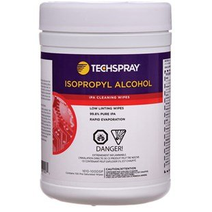 Tech Spray 1610-100DSP Multipurpose Cleaning Wipes, 5'' x 8'', 100 Wipes, White by Tech Spray