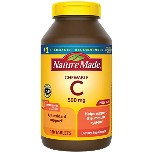 Nature Made Chewable Vitamin C 500 mg Tablets, 150 Count Value Size to Help Support the Immune System