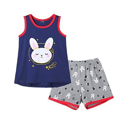 (MyFav Big Girls Sleeveless Pajama Sets Cute Cartoon Polka Dot Sleepwear Loungewear )