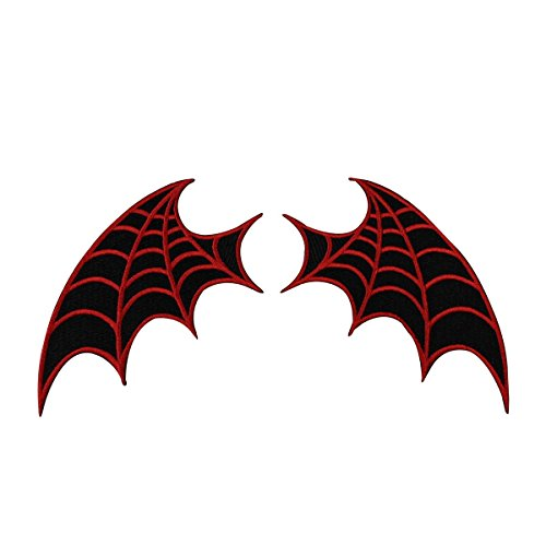 [Set of 2 Red Web Bat-Wing Patches Kreepsville Craft Apparel Iron-On Applique] (666 Halloween Costume)