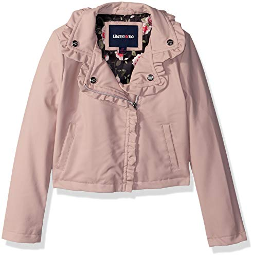 Limited Too Girls' Little Vegan Leather Moto Jacket with Ruffles, Blush, 6X -