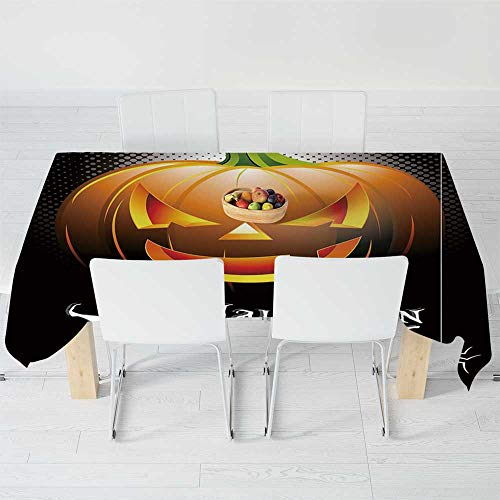 Fashionable Tablecloth,Halloween,for Secretaire Square Table Office Table,104.3 X 70.1 Inch,Halloween Party Theme Scary Pumpkin on -