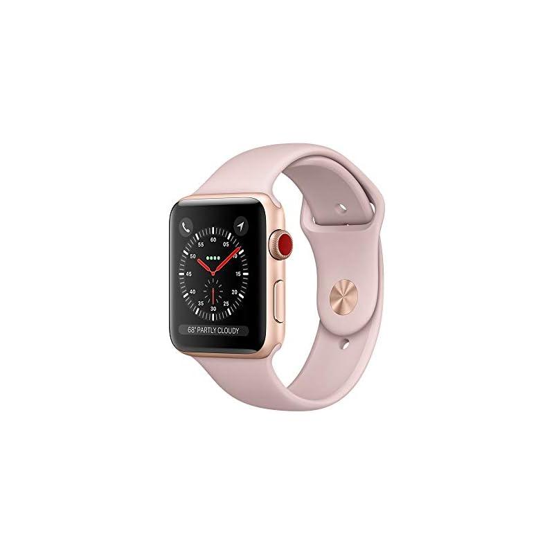 Apple Watch Series 3 38mm Smartwatch (GPS + Cellular, Rose Gold Aluminum Case, Pink Sand Sport Band) (Refurbished)