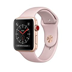 Stay connected in style with the 38mm GPS and cellular-equipped Apple Watch Series 3, which comes with a gold anodized aluminum chassis and a Pink Sand Sport band. Designed for users looking for the next generation of connectivity, Apple's Wa...