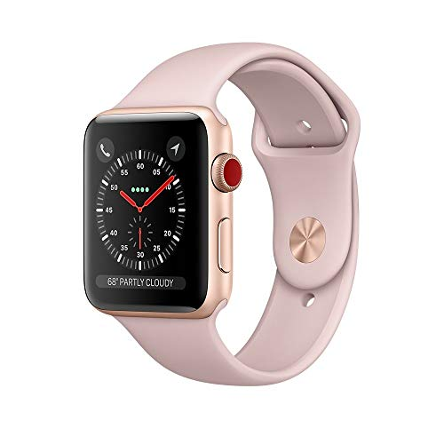 Apple Watch Series 3 38mm Smartwatch (GPS + Cellular, Rose Gold Aluminum Case, Pink Sand Sport Band) (Renewed)