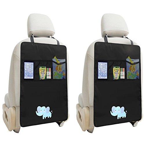 Zuoao 2 Stück Auto-Rückenlehnenschutz, Rückenlehnen Tasche Trittschutz mit Rücksitz-Organizer,Kinder Rücksitzschoner Kick-Matten-Schutz passend für die meisten den Autositz Schwarz,56.5 x 44cm Groß (Elefant)