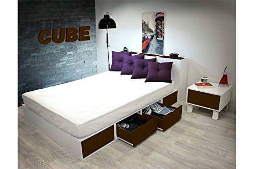 ABC MEUBLES - Bett 140 x 200 Boxen mit Schubladen - LITCUBLB - Wengé, 140x200