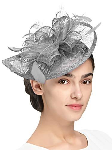 Fascinators Hat for Women Kentucky Derby Headband Wedding Mesh Feathers Tea Party Hair Clip (1-Grey)