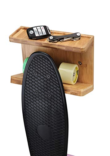 JackCubeDesign Bamboo Skateboard Wall Mount Rack Longboard Skate Display Organizer Holder with Tray – MK393A