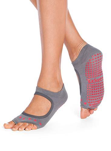 - Tucketts Womens Yoga Socks, Toeless Non Slip Skid Grip Low Cut Socks for Yoga, Pilates, Barre, Studio, Bikram, Ballet, Dance - Allegro Style (Gray/Red)