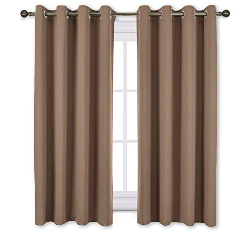 NICETOWN Insulated Blackout Curtains and Drapes - Microfiber Energy Saving Thermal Insulated Solid Grommet Blackout Draperies for Kitchen (One Pair, 52 Inch by 54 Inch, Cappuccino)