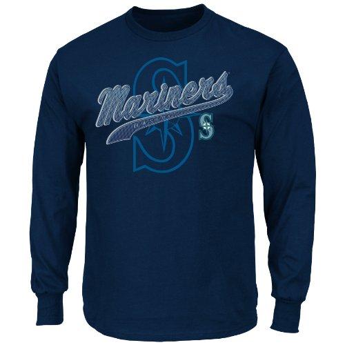 MLB Seattle Mariners Men's Basic Long Sleeve T-Shirt, Navy, Large