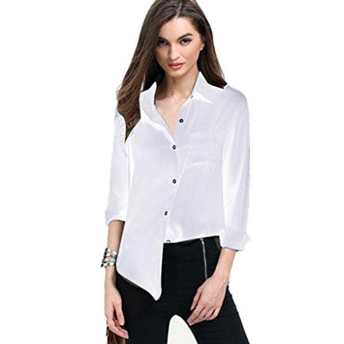T-Shirt Hot Sale,Duseedik New Women Cotton Solid Long Sleeve Shirt Casual Loose Blouse Button Down Tops … (L, White D) ()