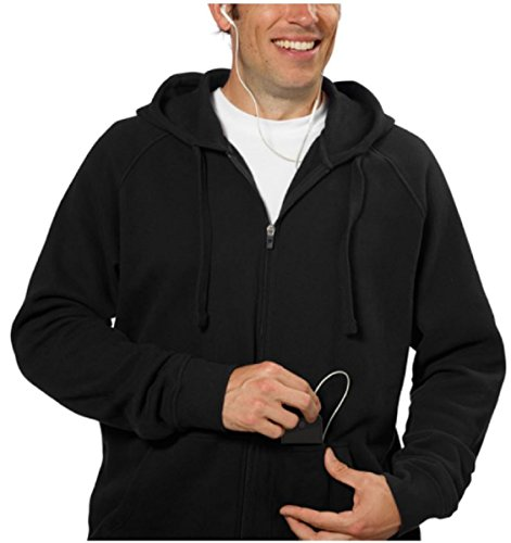 fila-full-zip-hooded-soft-fleece-mens-sweatshirt-with-media-pocket-l-black
