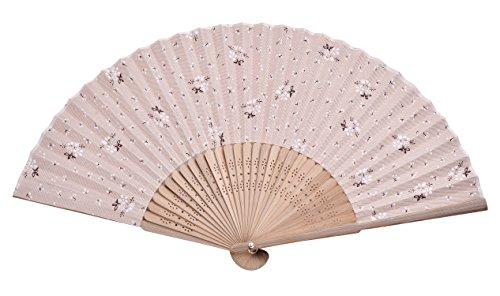 Flower Fan Bamboo - Hand Fan Bamboo White Flower Printed Folding Fan Cotton for Party Wedding Gift White Flower