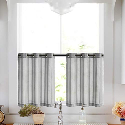 (Tier Curtains for Kitchen 24 inch Length Cafe Curtains Striped Sheer Tier Window Curtain Set, Grommet Top, 2 Panels, Grey)