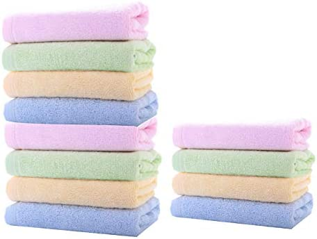 COZUMO Washcloths Bamboo Face Towel Hand Cloth Set 12Pack for Bathroom-Hotel-Spa-Kitchen Multi-Purpose Ultra Soft Absorbent 10 x 10