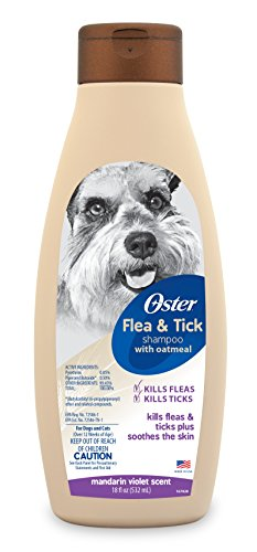 Oster Flea & Tick Shampoo with Oatmeal, Mandarin Violet, 18 Fluid Ounces (078590-935-001)
