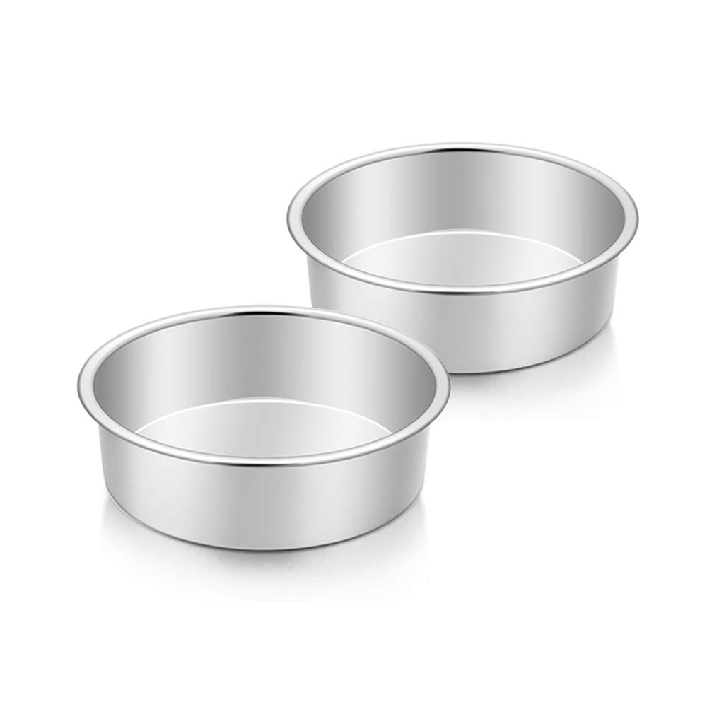 TeamFar 6 Inch Cake Pan, 2 Pcs Round Tier Cake Pan Set Stainless Steel for Baking Steaming Serving, Fit in Oven Instant Pot Air Fryer, Healthy & Heavy Duty, Mirror Finish & Easy Clean, Dishwasher Safe