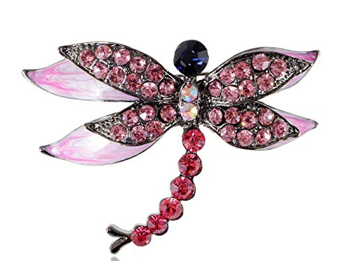Vintage Rhinstone Crystal Dragonfly Pin Brooch Party Shoe Cake Decoration Gift | Color Pattern - Red ()
