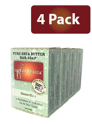 Out of Africa Shea Butter Bar Soap, Green Clay (4 oz Bar, 4-Pack); All-Natural Cold-Pressed African Bath and Body Soap w/Raw Shea Butter and Green Clay, Vegan
