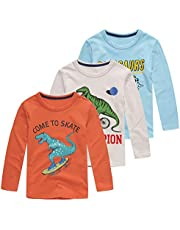 HowJoJo Boys Dinosaur Shirt Kids Cotton Long Sleeve T-Shirts Crew Neck Graphic Tees