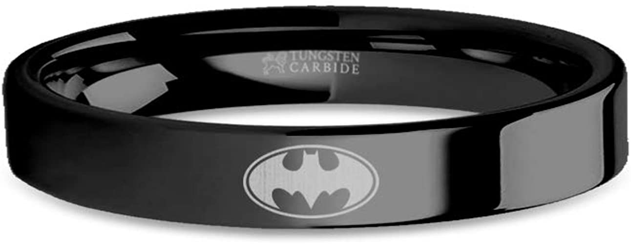 8 mm Batman Bat Signal Symbol Engraved Gold Tungsten Wedding Band