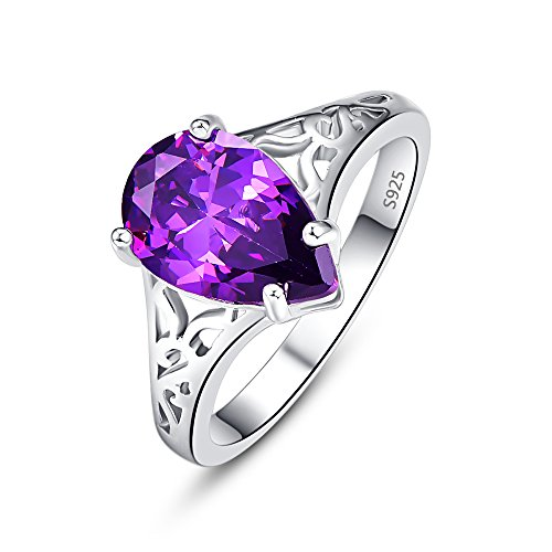 Psiroy 925 Sterling Silver Created Amethyst Filled Pear Cut Floral Band Promise Ring for Women Size 9