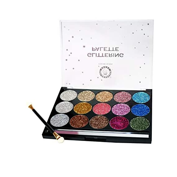 COLORS QUEEN Glittering Palette 15 Colors With Brush (Shimmer Palette)