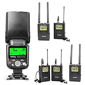 Voking DSLR Camera Accessories Flash VK750 and Lavalier Microphone System VK-WM210 and VK-WM220