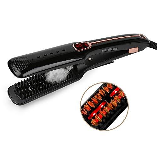 XYWN Hair Straighteners, Professional Steam Hair Brush Hair Straightener Electric Ion Comb Spray Vapor Flat Iron Styling Tools Adjustable Temperature,Black