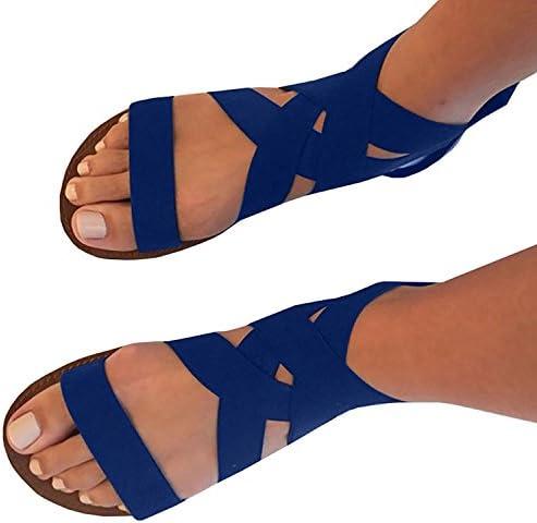 8515f556c4c UniqueFashion Women Summer Fashion Elastic Ankle Strap Open -Toe Flat  Sandals Shoes