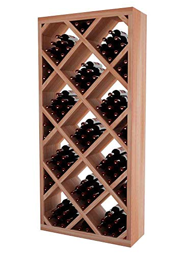 Designer Series Wine Rack - Diamond Bin with Front Trim - 6 Ft - Mahogany Unstained - No Lacquer