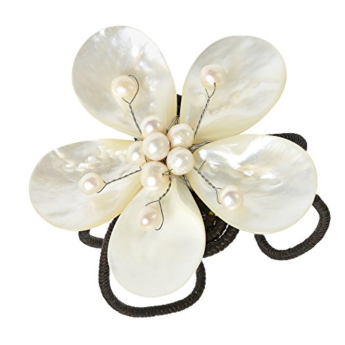 Pretty Handmade Mother of Pearl and Cultured Freshwater Pearl Flower Cuff - Flower Pearl Cuff