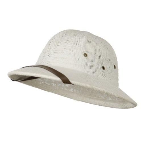 White Seagrass Pith Safari Jungle Helmet Hat]()