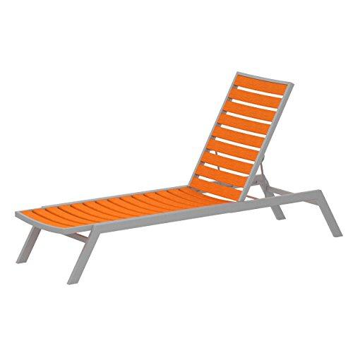POLYWOOD AC1FASTA Euro Chaise, Textured Silver/Tangerine