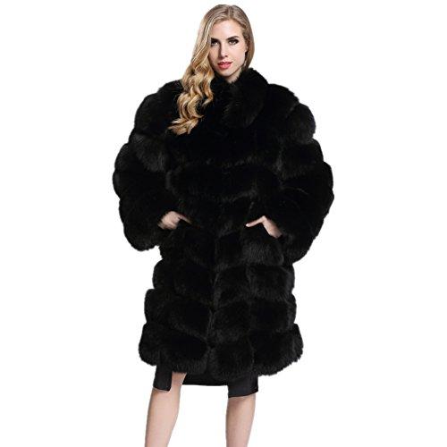 Topfur Women's Long Coat Black Fox Fur Overcoat Stand Collar Outerwear(US 10) by Top Fur