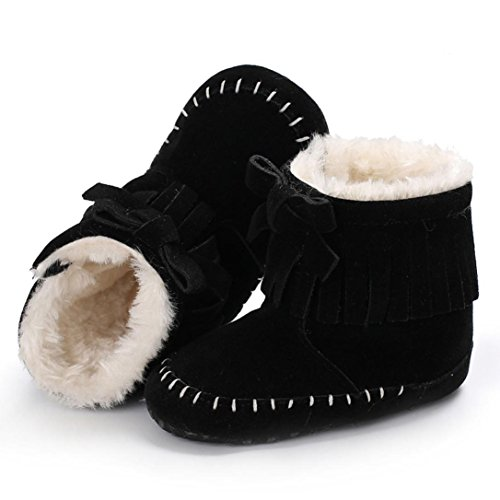 Baby Stiefel,Chshe Prewalker Säugling Süß Baumwolle Fliege Haken & Loop Stiefel Anti-Rutsch Weich Winter Warm Kind Schuhe Trainer Schwarz