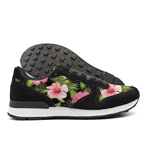Kijhsaa Tropical Flowers And Leaves Men International Athletic Shoes Low Top - Ftd Pink Lily