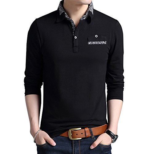 6f210d962 Wishere New Men s Fashion T-shirt Cotton Long-sleeved Polo Shirt ...