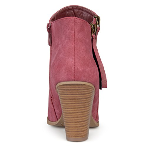 Booties Zipper Heel Journee Double Collection Womens Wine Stacked Wood wCC401qx